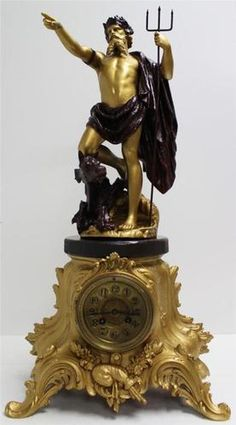 Antique Large French Gilt Metal 2 Tone Greek Sea God Figural Mantel Clock