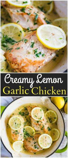 This One Pan Creamy Lemon Garlic Chicken as absolute perfection! It makes for a wonderful weeknight meal and is easy clean up! via @ohsweetbasil