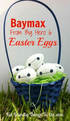 Baymax From Big Hero Six Easter Eggs! All you need to make Baymax is a Sharpie and an egg! So Clever!