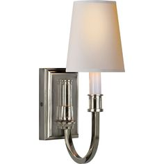 Visual Comfort Thomas O'Brien Modern Library Sconce in Polished Nickel with Natural Paper Shade TOB2327PN-NP