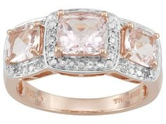 Stratify(Tm) 1.99ctw Pink Morganite And White Topaz 18k Rose Gold Over Sterling Silver Ring