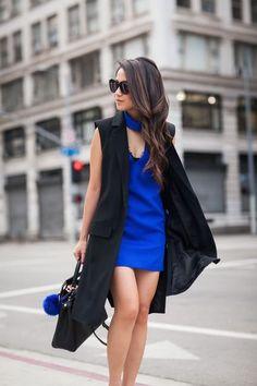 Cobalt Dream :: Cutout dress & Magenta pumps