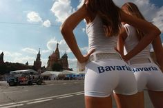 F1 grid girls in Red Square