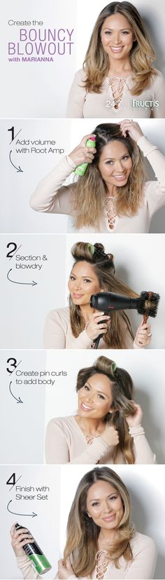 Looking for a go-to, everyday style? Watch Marianna create this Bouncy Blowout with a boost from Garnier Fructis Root Amp Spray - it's your secret weapon for hairstyles with awesome volume. Finish with Garnier Fructis Sheer Set Hairspray for touchable hold.