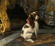 Old Paintings, Paintings I Love, Animal Paintings, Cavalier King Spaniel, Cocker Spaniel Dog, King Charles Dog, King Charles Spaniel, Jean Antoine Watteau, Parrot Pet
