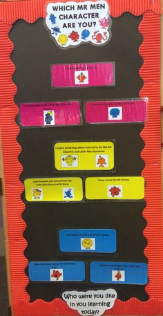 Mr Men related 'characteristics of effective learning' display. Children can place their picture on the description they feel best fits their learning style during the session.