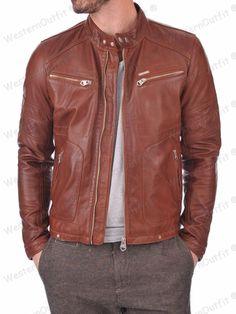New Men's Genuine Lambskin Leather Jacket Slim fit Biker Motorcycle jacket GV163 #WesternOutfit #Motorcycle