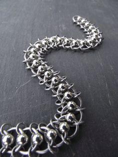 Centipede Aluminum Bracelet, Beaded Chainmail Bracelet
