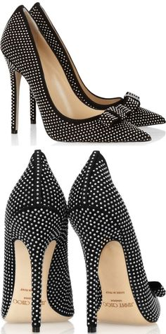 """Maya"" pumps from Jimmy Choo featuring pointy toes, all-over mini silver studs, and a bow detail on Stilettos, Pumps, High Heels, Dream Shoes, Crazy Shoes, Me Too Shoes, Pretty Shoes, Beautiful Shoes, Hot Shoes"