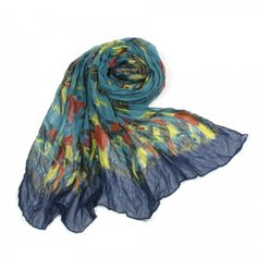http://www.artfire.com/ext/shop/studio/bohemiantouch/1/1/10311//  Teal and Blue Vintage Yellow Bird Print Soft Touch Fashion Shawl Scarf, scarf is a great addition to your collection of fashion accessories. Perfect for all year round.