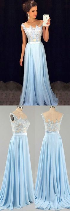 Light blue A-line chiffon lace long prom dress, bridesmaid dress