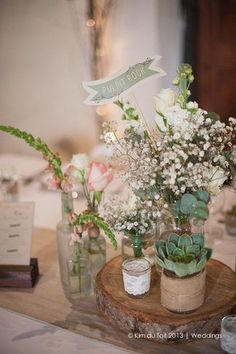 Rustic Wedding Decor with Baby's Breath and Succulent