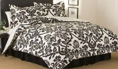 4 Piece Comforter Set Includes 2 Shams, Bedskirt, Comforter measuring 90x90 100% Cotton face cloth, 100% polyester fill