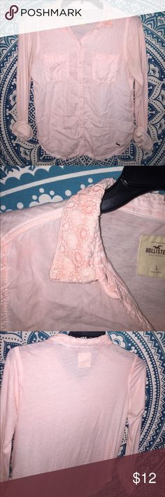 Hollister button down Has lace on the collar light pink shade Hollister Tops Button Down Shirts