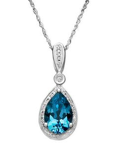 14k White Gold Necklace, Blue Topaz (3 ct. t.w.) and Diamond (1/10 ct. t.w.) Teardrop Pendant  Web ID: 508288