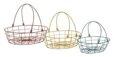 Fascinating Styled Colorful Metal Basket Set-Features Metal Basket Set measures 15 inches (W) x 12 inches (D) x 12 inches (H), 13 inches (W) x 10 inches (D) x 11 inches (H) Made of quality metal Red, yellow and blue color palette Description: Simply need simple baskets? Do you need baskets that have no frills or sharp edge, and come in a set of three? Well this metal basket set of three will put an end to your search. These baskets can be used to store varying and various items. Store your…