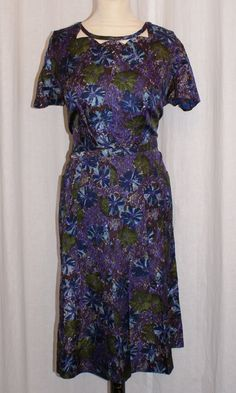 Vintage 1950s Elegant matching purple blue floral silk dress and jacket XXL rockabilly Viva Goodwood by OuterLimitz on Etsy