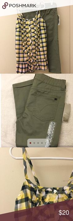 NWT JOE's pants and TruLuv top Olive capri length pants by Joe's.  Paired with plaid button front top by TRULUV.  Both size 12 or large.  Both are NWT!  However, the top is missing a button (see photo).  Easy fix, if you can sew! Matching Sets