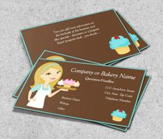 Blonde/Aqua Cupcake Baker/Bakery Business Card This great business card design is available for customization. All text style, colors, sizes can be modified to fit your needs. Just click the image to learn more! | bizcardstudio.co.uk