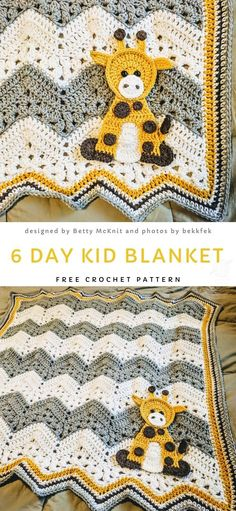 Sweet Baby Giraffe Blanket Free Crochet Pattern - - This blankie is a cute interpretation of the 6 Day Kid Blanket. It is joyful, colorful and fun. To avoid choking hazard, replace the giraffe's plastic eyes for embroidery. Source by patterncentercom Crochet Baby Blanket Free Pattern, Baby Afghan Crochet, Manta Crochet, Easy Crochet, Crochet Baby Blankets, Baby Afghans, Double Crochet, Knit Crochet, Giraffe Blanket