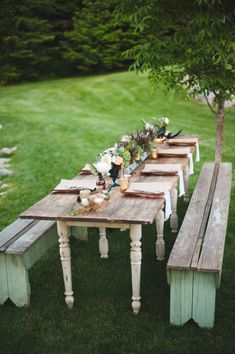 Rustic wood table for outdoor dining