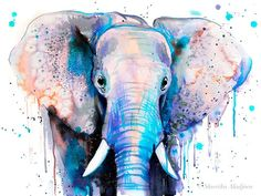 Black and white Elephant watercolor painting print by Slaveika Watercolor Paintings Abstract, Watercolor Animals, Painting Prints, Original Paintings, Elephant Watercolor, Watercolors, Painting Tips, Painting Art, Art Paintings