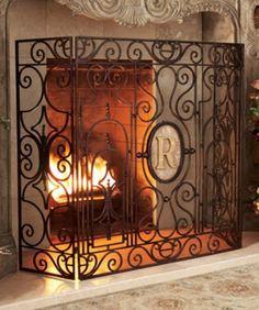 Tuscan Wrought Iron Fleur De Lis Monogrammed Fire Place