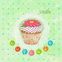 Vanilla Cupcake Art by Artist Shari Warren. Vanilla Cupcake with white frosting and a flower on a decorative colorful background.