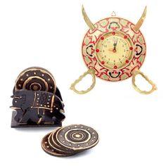Buy Brass Sword Armour Clock n Get Tea Coaster Free