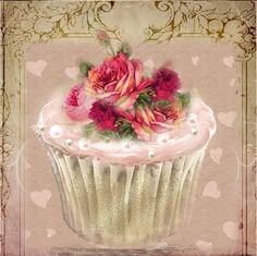WhimsyDust Affair: Pink frosted cupcake with Roses.  Hearts in background and gold flourish on top.
