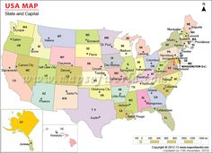 A Very Good Map To Find Out The States And Their Respective - Usa map with cities and capitals