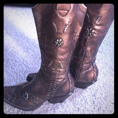 BCBG Boots- Bronze/Brown BCBG cowboy style boots with very detailed stitching. Great with modern western styling or fashion dressing! Bronze in color. BCBG Shoes Heeled Boots