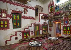 Traditional berber house decoration In the old town, Ghadames, Libya. Interior Architecture, Interior And Exterior, Interior Design, Arabesque, Village House Design, Amazing Buildings, Colourful Buildings, Traditional Decor, Beautiful World