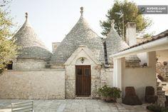 Trulli and villa found in Putignano, Italy.