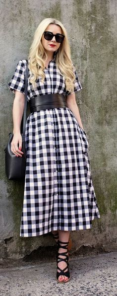 Black Gingham Maxi Shirt Inspiration Dress by Atlantic - Pacific