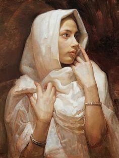 Artist: Liu Yaming (b. 1962), oil, 2005 {contemporary figurative beautiful female head hands headdress woman face portrait profile cropped painting detail #loveart} <3