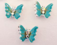Metal and Crystal Sliders 2-hole Beads Aqua by StoneWingSupplies