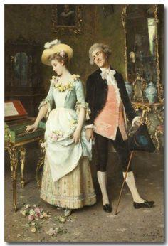 Federico Andreotti (1847–1930) - La Proposition, huile sur toile, 101,6 x 74,9 cm, Fylde Borough Council, The Public Offices