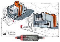Fer Neyra: Casa Tetris Córdoba Argentina Architecture Design, Architecture Concept Drawings, Architecture Sketchbook, Casas Containers, House Sketch, Sketch Design, House Design, Diy Paper, Paper Crafts