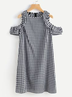 SheIn offers Gingham Open Shoulder Frill Trim Dress & more to fit your fashionable needs. Summer Fashion Outfits, Cool Outfits, Fashion Dresses, Fashion Clothes, Gingham Dress, Plaid Dress, White Dress, Ruffle Dress, Dress Black