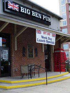 Big Ben British Pub & Restaurant--Awesome food! Charlotte, NC on the other side of the Atherton Mill building from us.