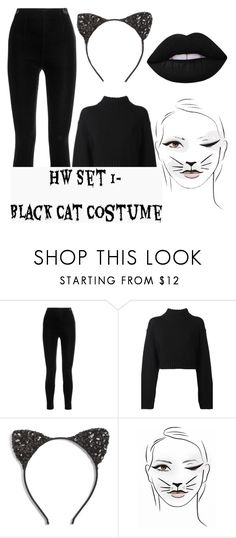 """""""Halloween Set 1- Black Cat Costume"""" by duh-its-daij ❤ liked on Polyvore featuring Balmain, DKNY, Cara and Lime Crime"""