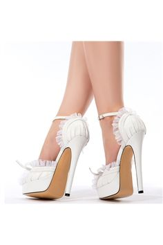 shoespie.com Offers High Quality Elegant White PU Peep Toe Ankle Strap High Heel Shoes ,Priced At Only US$63.19