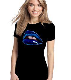 Maglietta donna Lips art, T-Shirt Fruit of the loom, sofspun