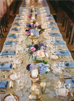 cornflower blue and golden table setting tablescape long dining table place setting