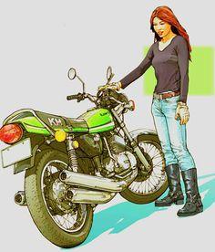 東本 昌平 Joker Stencil, Kawasaki Classic, Anime Motorcycle, Kawasaki Motorcycles, Cafe Racer, Bike Art, Super Bikes, Biker Girl, Vintage Motorcycles