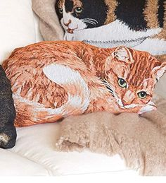 Cotton Jacquard Woven Tapestry Orange Tabby Cat Shaped Pillow