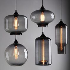 25£ eBay INDUSTRIAL-MODERN-SMOKY-GREY-GLASS-SHADE-CAFE-LOFT-PENDANT-LIGHT-CEILING-LAMP