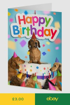 Dachshund Sausage Dog Emerges From Cake Surrounded By Friends Birthday Card