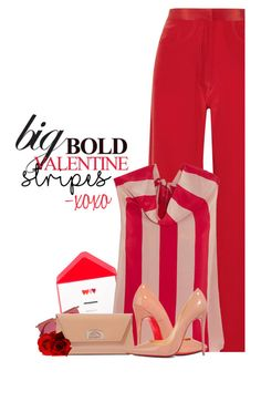 """Valentine Stripes"" by hollowpoint-smile ❤ liked on Polyvore featuring Juan Carlos Obando, Le Specs and Christian Louboutin"